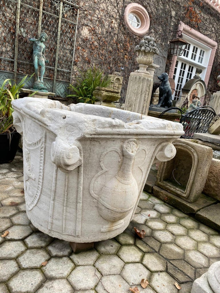 Renaissance Wellhead Hand Carved Marble Container Planter Basin Antiques Melrose For Sale 7