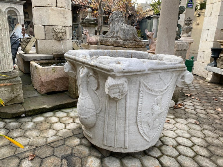 Hand-Carved Renaissance Wellhead Hand Carved Marble Container Planter Basin Antiques Melrose For Sale