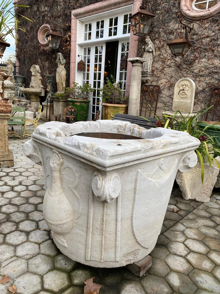 Stone Renaissance Wellhead Hand Carved Marble Container Planter Basin Antiques Melrose For Sale