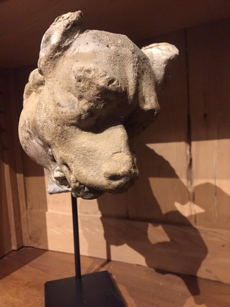 Hand-Crafted 15th Century Gargoyle Stone Dog For Sale