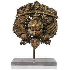 15th Century Gilt-Copper Kirtimukha Repousse Plaque