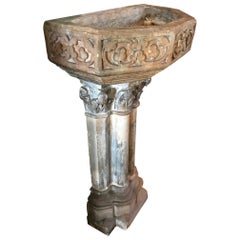 15th Century Gothic Limestone Benitier Fountain Basin Candle Holder Sink Antique
