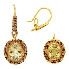 15th Century Inspired 3 in 1 Topaz Earrings/Pendant