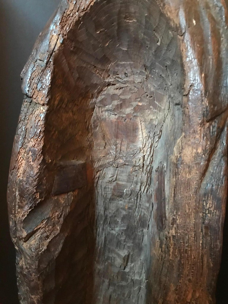 15th Century Rare English Oak Carved Sculpture of the Virgin, circa 1450 For Sale 9