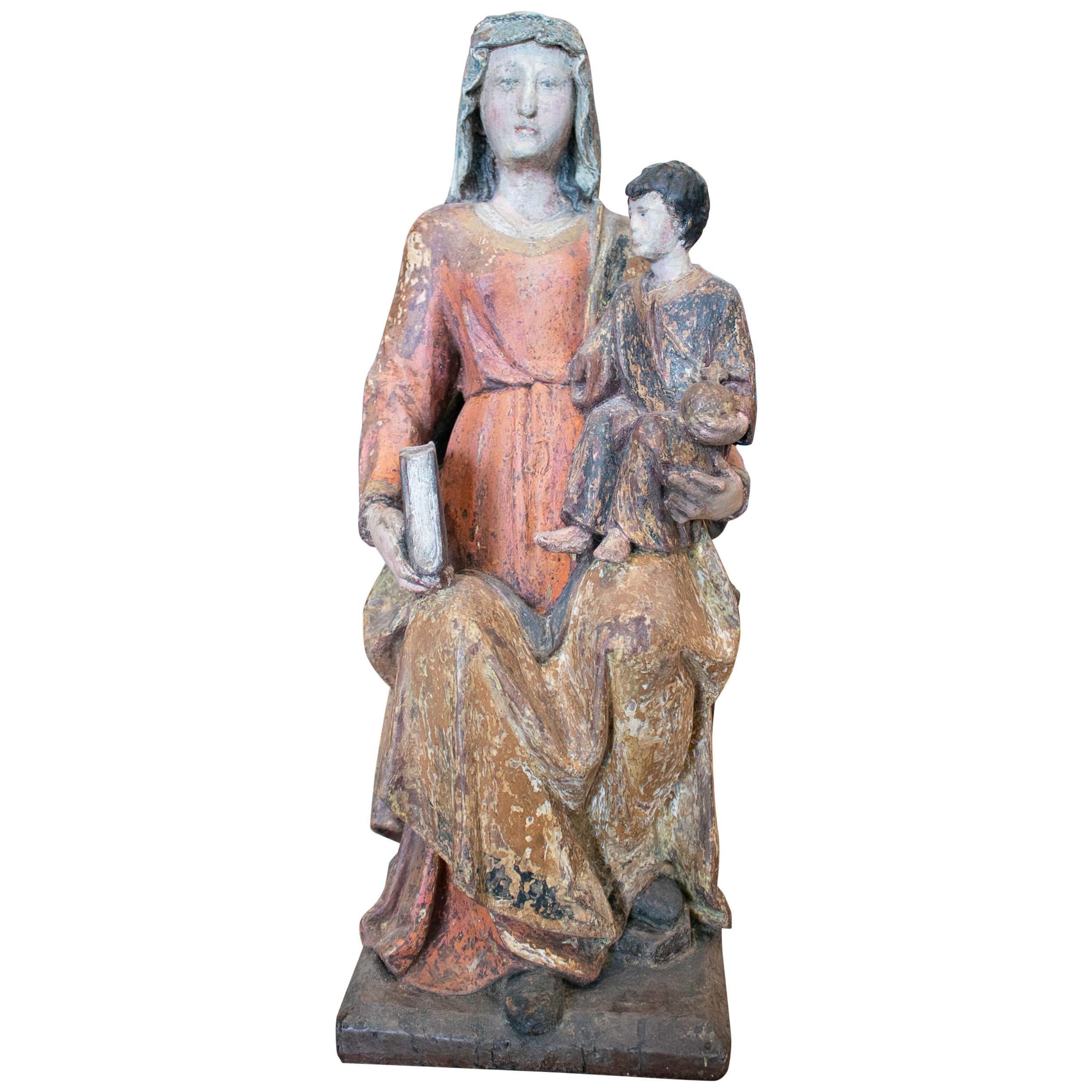 15th Century Spanish Gothic Virgin and Child Polychrome Wooden Sculpture