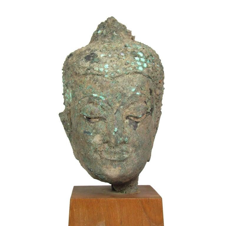 Archaistic 15th Century Thai Bronze Head of Buddha For Sale