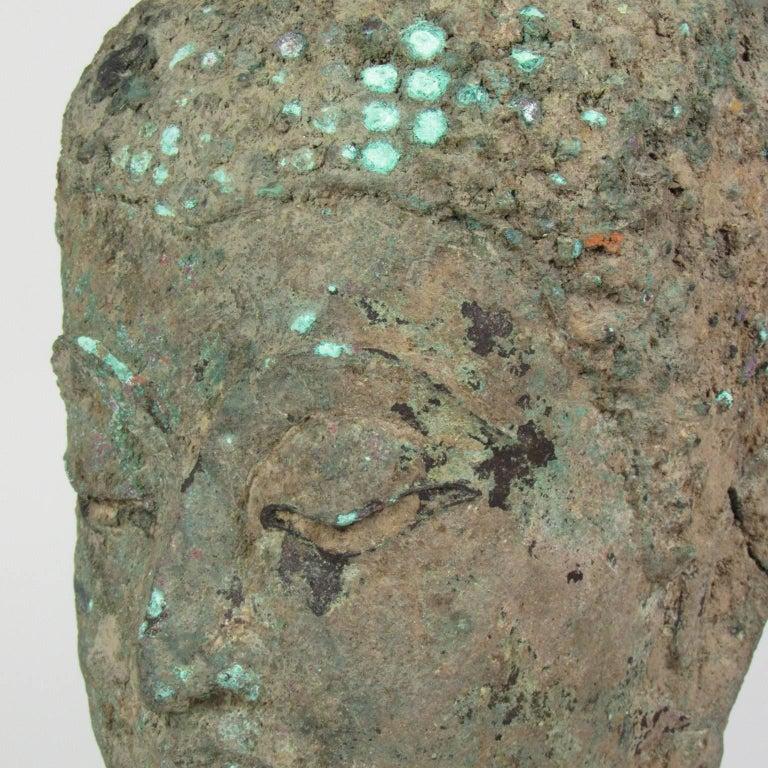 15th Century Thai Bronze Head of Buddha In Good Condition For Sale In Concord, MA