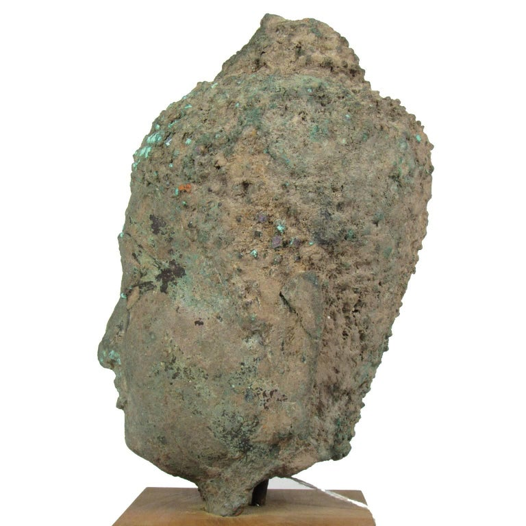 18th Century and Earlier 15th Century Thai Bronze Head of Buddha For Sale