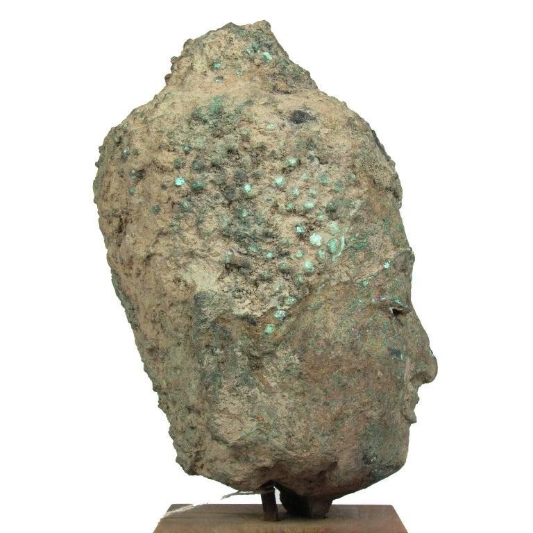 15th Century Thai Bronze Head of Buddha For Sale 1