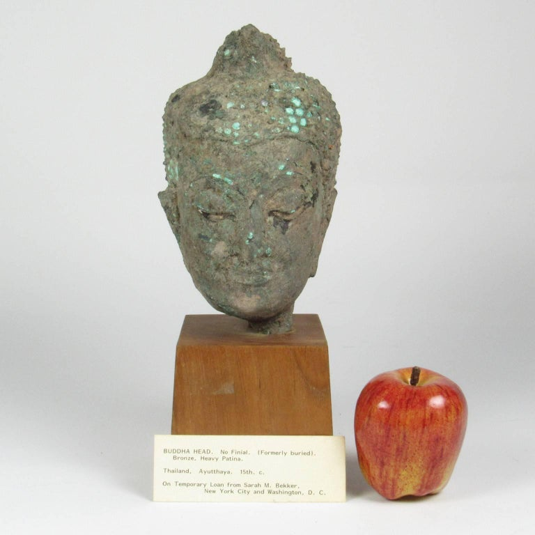 15th Century Thai Bronze Head of Buddha For Sale 3