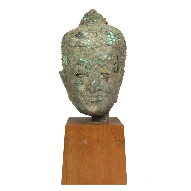 15th Century Thai Bronze Head of Buddha For Sale