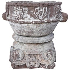 15th Century Weather Worn Istrian Carved Stone Font from Northern Italy