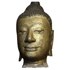 15thC Thai Lacquered and Gilded Stone Head, 6597