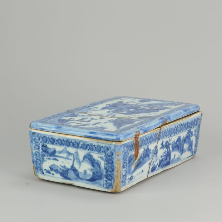 Ming Chinese Porcelain Pencil Box Scholars Table Landscape Rarity, China For Sale 6