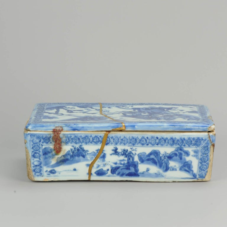 Ming Chinese Porcelain Pencil Box Scholars Table Landscape Rarity, China For Sale 7