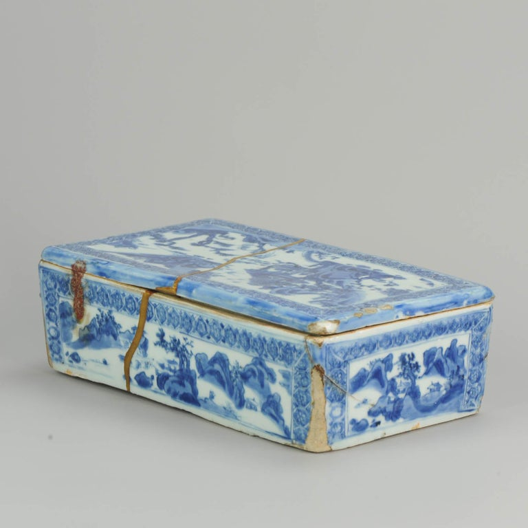 Ming Chinese Porcelain Pencil Box Scholars Table Landscape Rarity, China For Sale 8