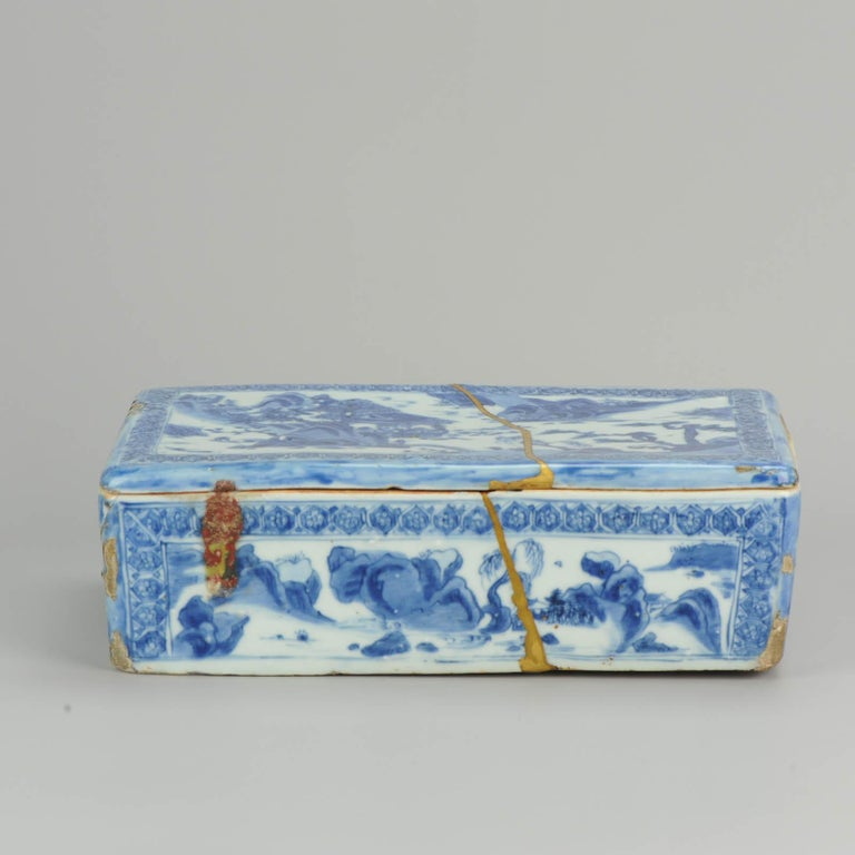 Ming Chinese Porcelain Pencil Box Scholars Table Landscape Rarity, China For Sale 10