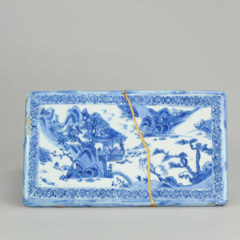 Ming Chinese Porcelain Pencil Box Scholars Table Landscape Rarity, China For Sale 11