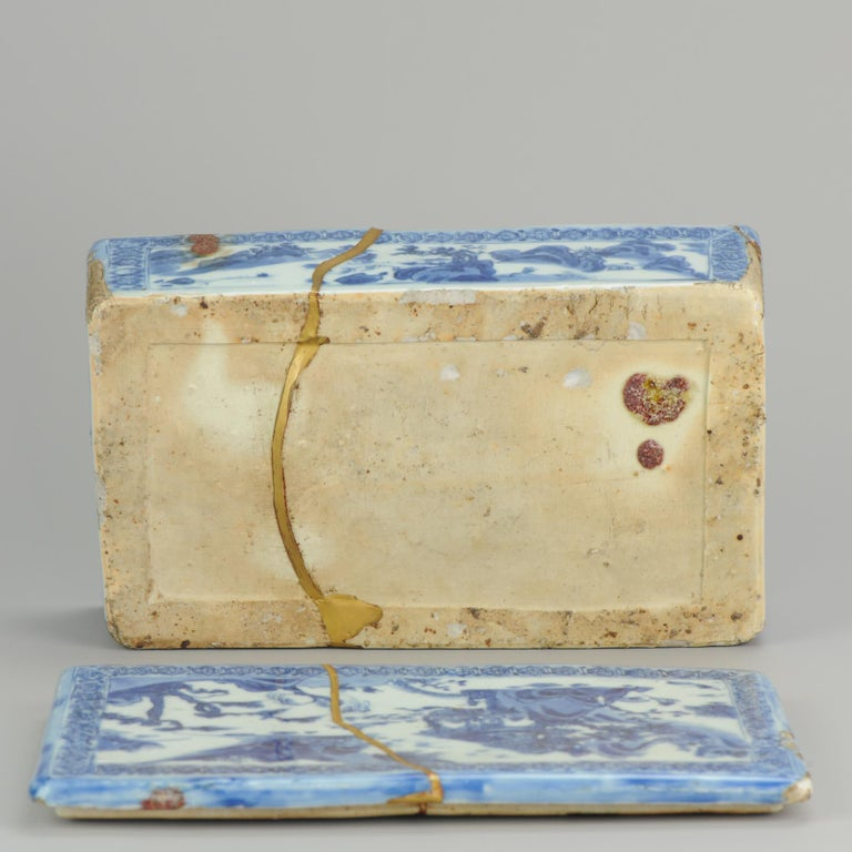 Ming Chinese Porcelain Pencil Box Scholars Table Landscape Rarity, China For Sale 14