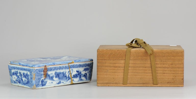 A very nicely decorated and rare pencil box from the 16th-17th century. Plus wooden box.