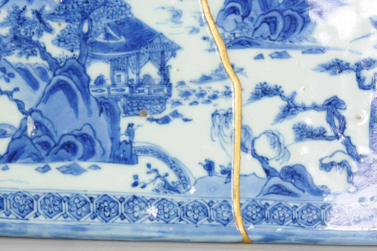 Ming Chinese Porcelain Pencil Box Scholars Table Landscape Rarity, China For Sale 16