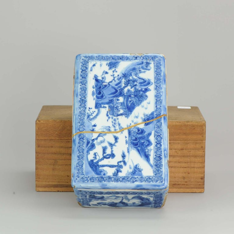 16th Century Ming Chinese Porcelain Pencil Box Scholars Table Landscape Rarity, China For Sale