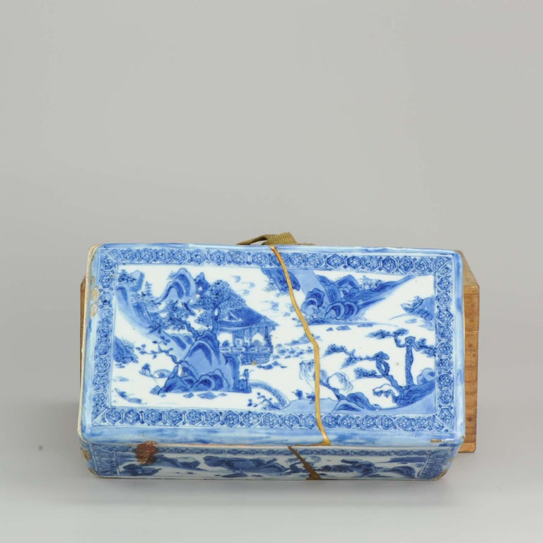 Ming Chinese Porcelain Pencil Box Scholars Table Landscape Rarity, China For Sale 1