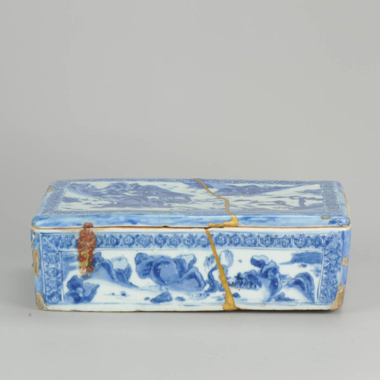 Ming Chinese Porcelain Pencil Box Scholars Table Landscape Rarity, China For Sale 4