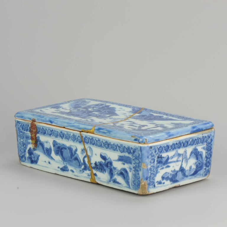 Ming Chinese Porcelain Pencil Box Scholars Table Landscape Rarity, China For Sale 5