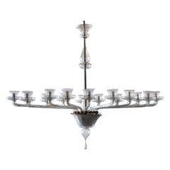 16-Armed Clear Glass Murano Chandelier, circa 1930s
