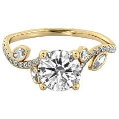 1.6 Carat 14 Karat Yellow Gold Leaf Diamond Engagement Ring, Flower Diamond Ring