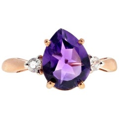 1.6 Carat Amethyst and Diamond Rose Gold Ring