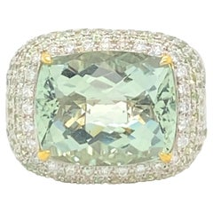 16 Carat Beryl Ring with Diamonds