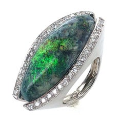 16 Carat Black Opal Diamond 18 Karat White Gold Ring