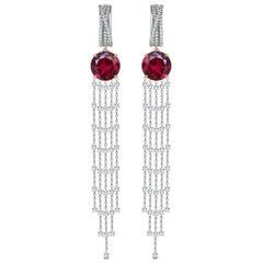 16 Carat Burgundy Red Rhodolite Diamonds 18 Karat White Gold Dangle Earrings