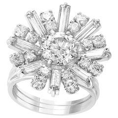 1.6 Carat Centre Diamond Flower Cocktail Engagement Platinum Ring Estate