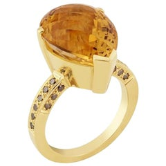 16 Carat Citrine 9 Karat Gold Diamond Cocktail Ring with 0.50 Carat of Diamonds
