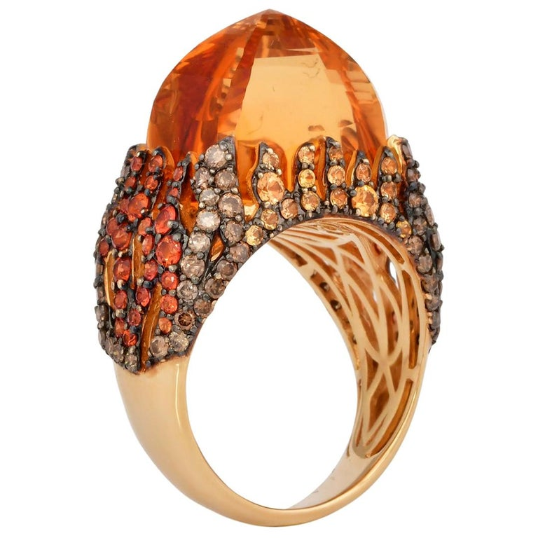 16 Carat Citrine with Sapphire and Diamond Ring in 18 Karat Yellow Gold For Sale