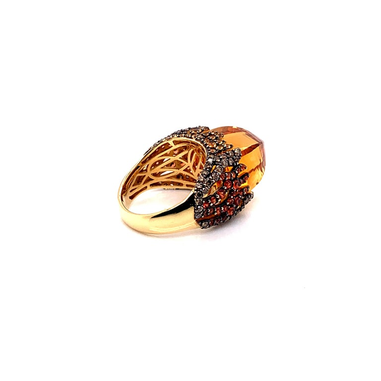 Contemporary 16 Carat Citrine with Sapphire and Diamond Ring in 18 Karat Yellow Gold For Sale