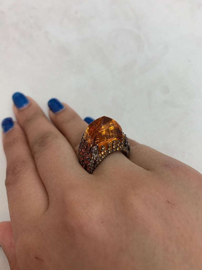 Cabochon 16 Carat Citrine with Sapphire and Diamond Ring in 18 Karat Yellow Gold For Sale