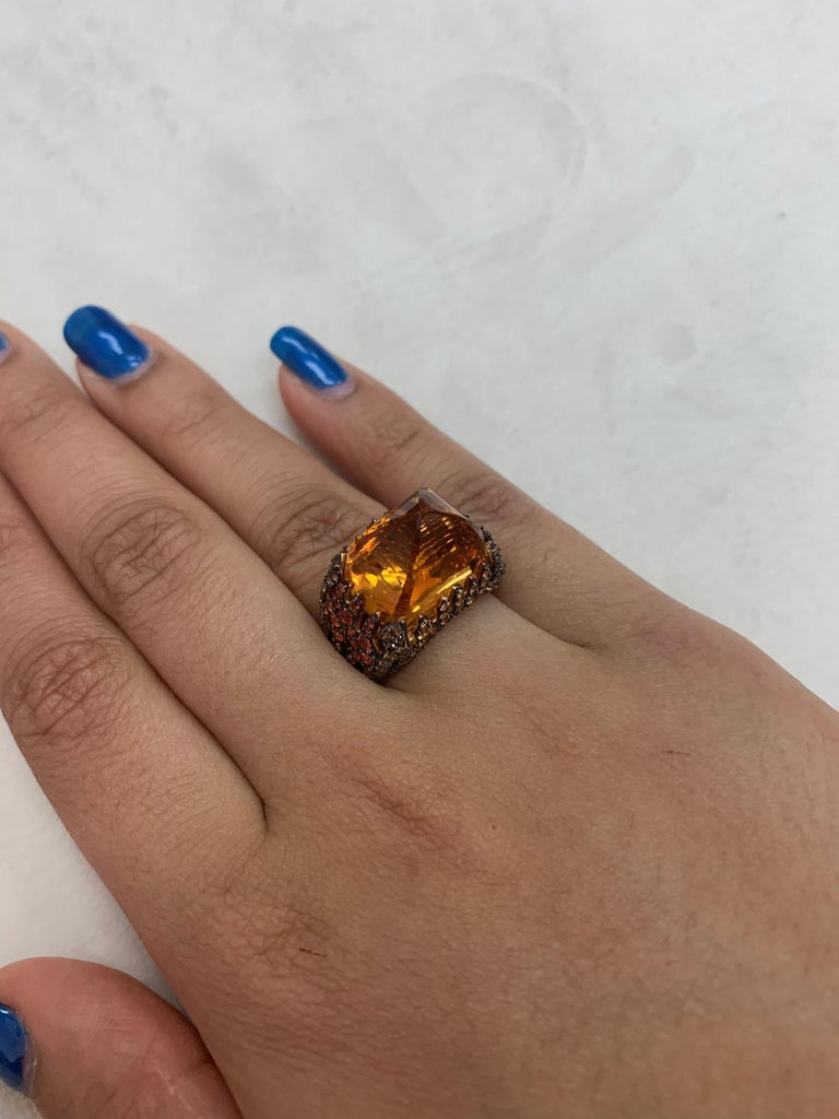 Women's 16 Carat Citrine with Sapphire and Diamond Ring in 18 Karat Yellow Gold For Sale