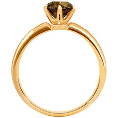 1.6 Carat Cognac Diamond 18 Karat Rose Gold Solitaire Ring