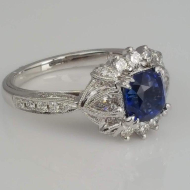 Contemporary DiamondTown 1.6 Carat Cushion Cut Sapphire and 0.63 Carat Diamond Ring For Sale