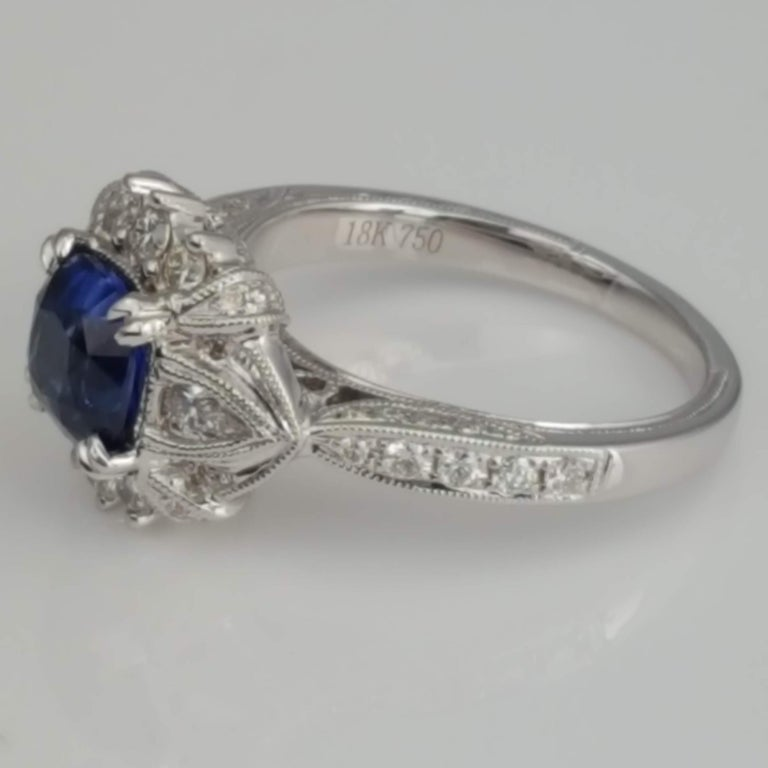 DiamondTown 1.6 Carat Cushion Cut Sapphire and 0.63 Carat Diamond Ring In New Condition For Sale In New York, NY