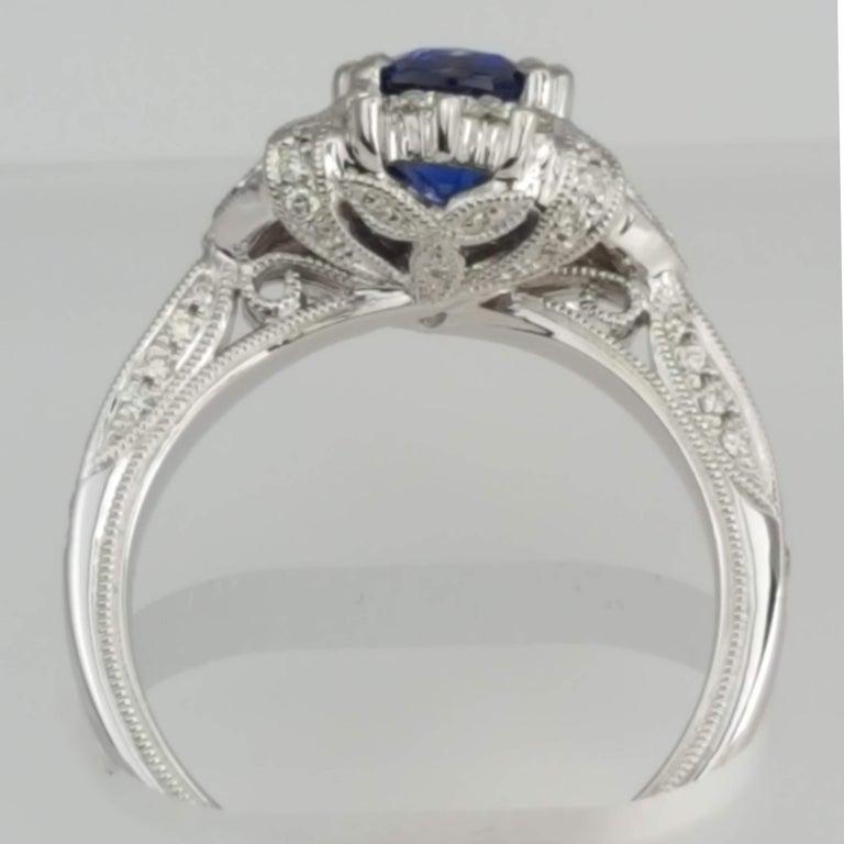 Women's DiamondTown 1.6 Carat Cushion Cut Sapphire and 0.63 Carat Diamond Ring For Sale