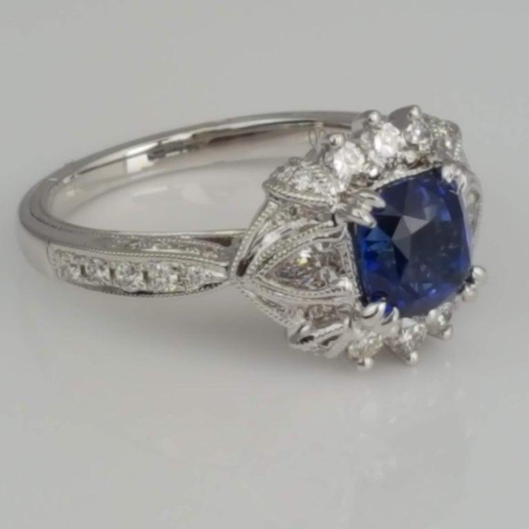 DiamondTown 1.6 Carat Cushion Cut Sapphire and 0.63 Carat Diamond Ring For Sale 1