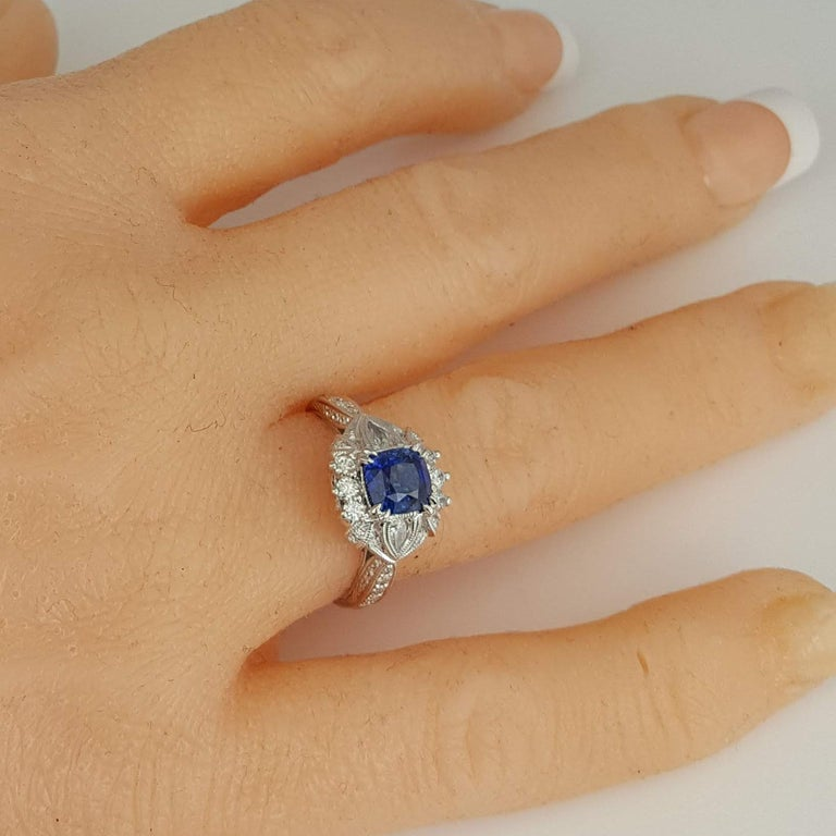 DiamondTown 1.6 Carat Cushion Cut Sapphire and 0.63 Carat Diamond Ring For Sale 2