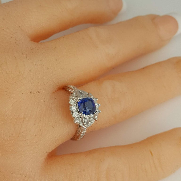 DiamondTown 1.6 Carat Cushion Cut Sapphire and 0.63 Carat Diamond Ring For Sale 3