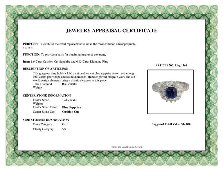 DiamondTown 1.6 Carat Cushion Cut Sapphire and 0.63 Carat Diamond Ring For Sale 5
