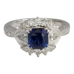 DiamondTown 1.6 Carat Cushion Cut Sapphire and 0.63 Carat Diamond Ring